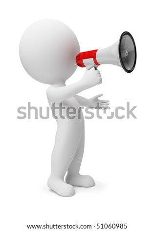 3d small people with a megaphone in a hand. 3d image. Isolated white background. - stock photo