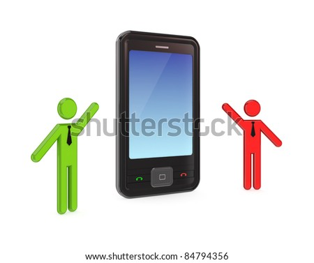 3d small people with a modern mobile phone.Isolated on white background. - stock photo