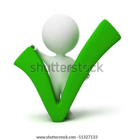 3d small people with a positive symbol. 3d image. Isolated white background. - stock photo