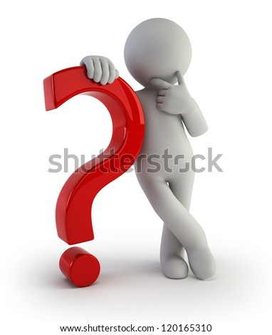 3d small people - with a question mark - stock photo