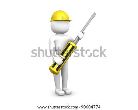 3d small people with a screw-driver in hands. 3d image. 3d render illustration