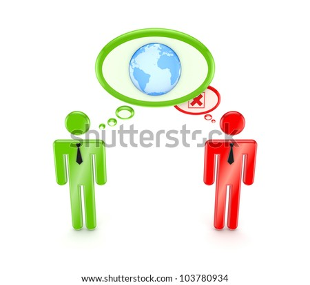 3d small people with globe symbol and red cross mark.Isolated on white background. - stock photo