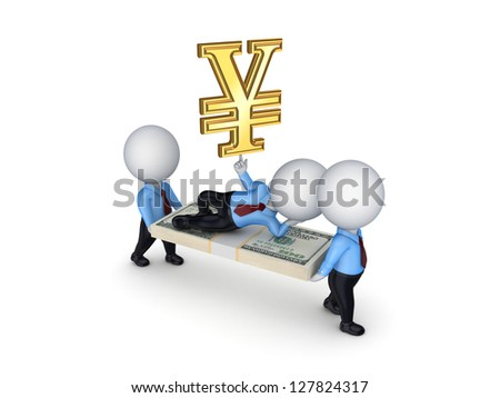 3d small people with packs of dollars and symbol of yen.Isolated on white background.