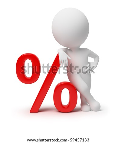 3d small people with percent. 3d image. Isolated white background.