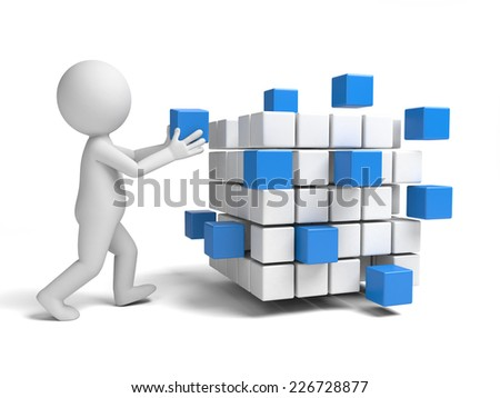 3d small people with some cubes. 3d image. Isolated white background
