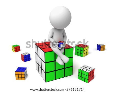 3d small people with some cubes. 3d image. Isolated white background - stock photo