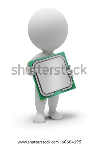 3d small people with the processor in hands. 3d image. Isolated white background.
