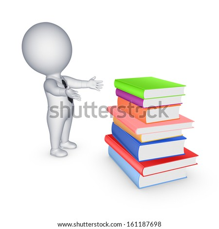 3d small person and big stack of colorful books.Isolated on white.