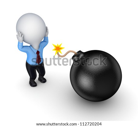 3d small person and black bomb.Isolated on white background. - stock photo