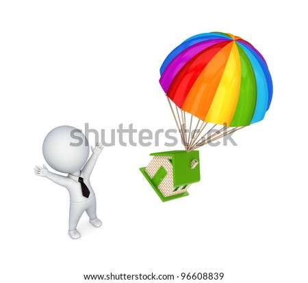 3d small person and colorful parachute.Isolated on white background. - stock photo
