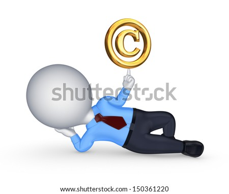 3d small person and copyright symbol.Isolated on white. - stock photo