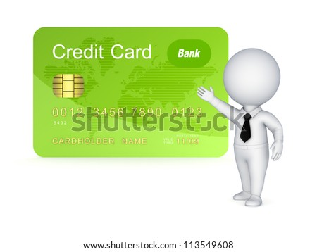 3d small person and credit card.Isolated on white background.3d rendered. - stock photo