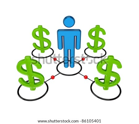 3d small person and dollar signs.isolated on white background. - stock photo
