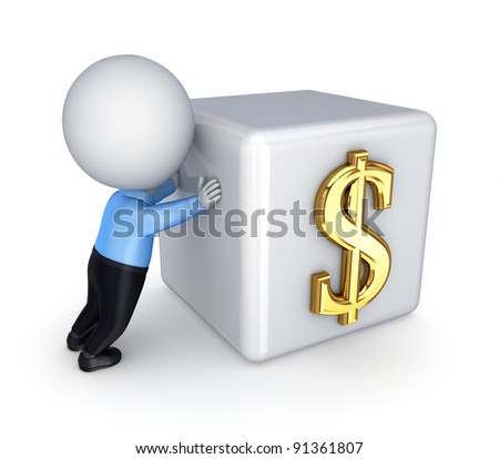 3d small person and dollar symbol.Isolated on white background.