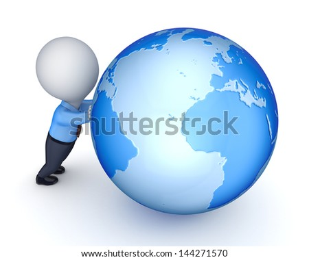 3d small person and globe.Isolated on white.3d rendered. - stock photo