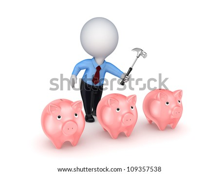 3d small person and pink piggy banks.Isolated on white background.3d rendered. - stock photo