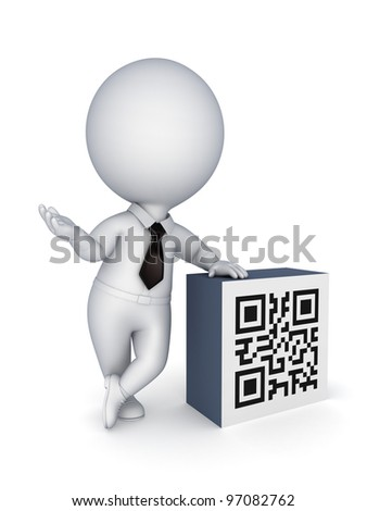 3d small person and QR code.isolated on white background. - stock photo
