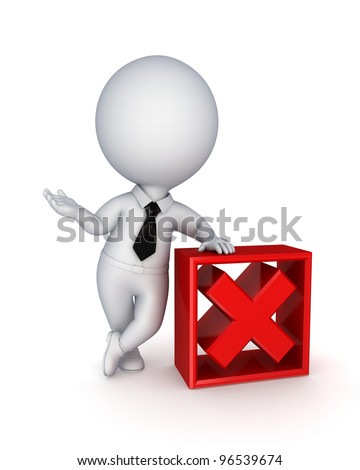 3d small person and red tick mark.Isolated on white background. - stock photo
