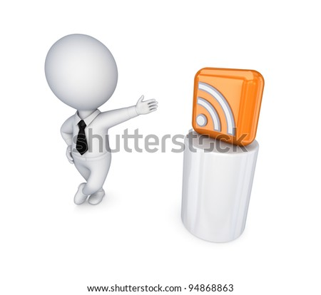 3d small person and RSS symbol.Isolated on white background.