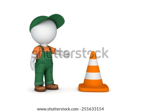 3d small person and traffic cone.Isolated on white background.3d rendered. - stock photo
