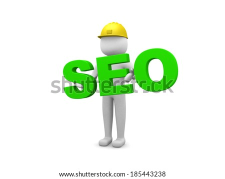 3d small person and word SEO.Isolated on white background.3d rendered illustration - stock photo