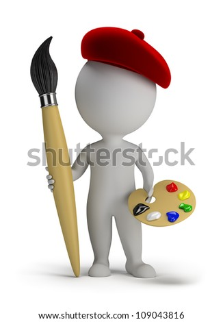 3d small person - artist with a big brush and palette in hand. 3d image. Isolated white background.