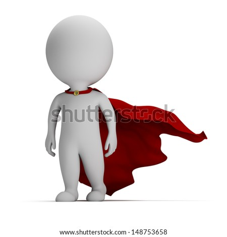 3d small person - brave superhero a cloak in the developing. 3d image. White background. - stock photo