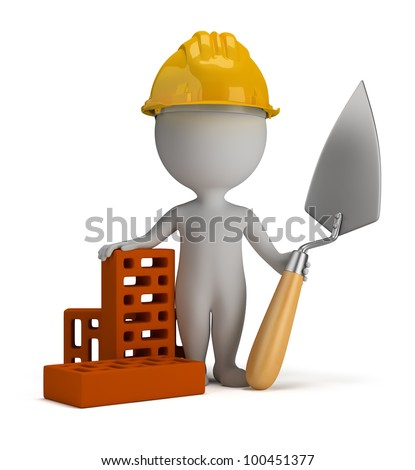 3d small person - builder in the helmet with a shovel and bricks. 3d image. Isolated white background.
