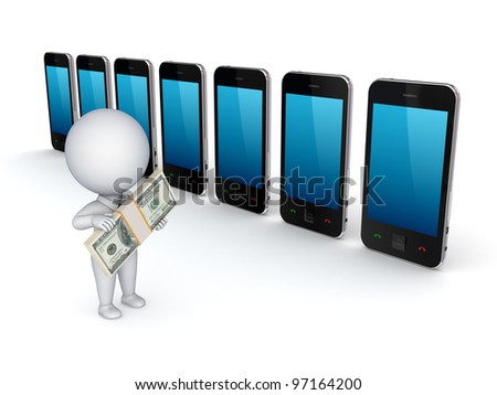 3d small person buying mobile telephone.Isolated on white background.