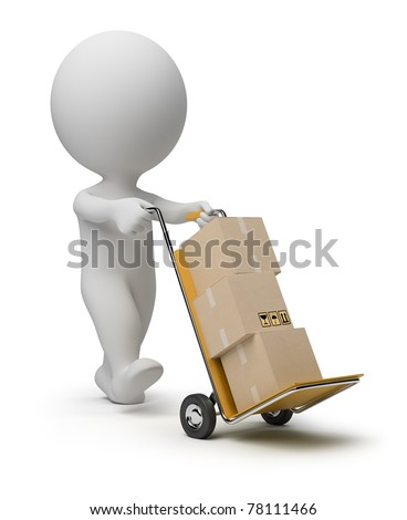 3d small person carrying the hand truck with boxes. 3d image. Isolated white background. - stock photo