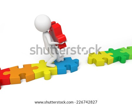 3d small person creates a link with the red piece.