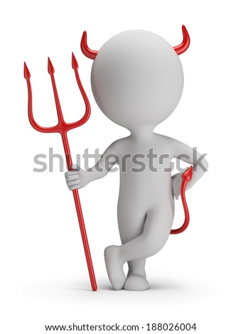 3d small person - devil with a trident. 3d image. White background. - stock photo