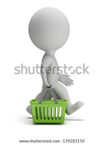 3d small person goes with a green shopping basket. 3d image. White background. - stock photo