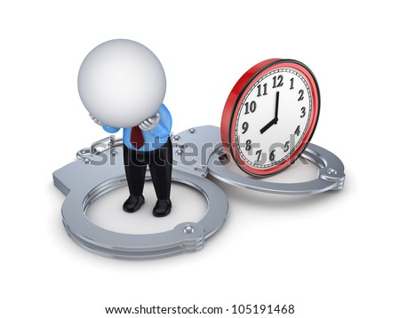 3d small person, handcuff and red watch.Isolated on white background.