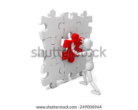3d small person holding a red  puzzle. 3d image. Isolated white background