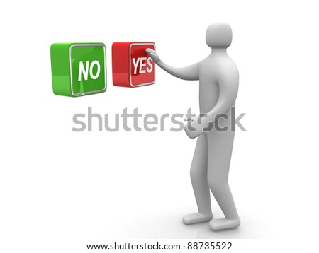 "3d small person. Human character choosing between ""yes""or ""no""- This is a 3d render illustration"