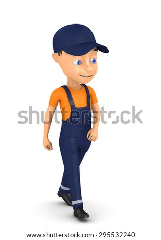 3d small person in a workwear Isolated on white