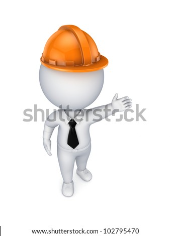 3d small person in an orange helmet.Isolated on white background.3d rendered. - stock photo
