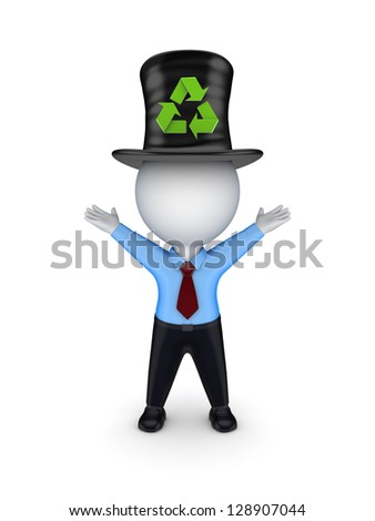 3d small person in top-hat with recycle symbol.Isolated on white background. - stock photo