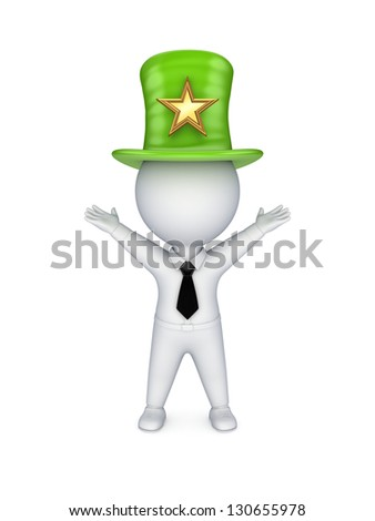 3d small person in top-hat with star symbol. - stock photo