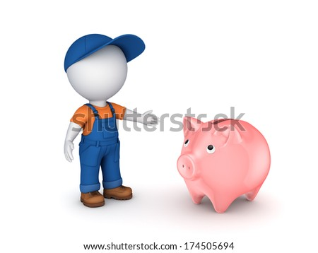 3d small person in workwear and piggy-bank.Isolated on white. - stock photo