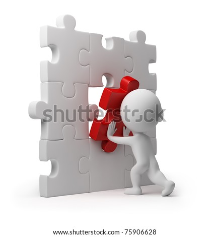 3d small person inserting last part of a puzzle. 3d image. Isolated white background. - stock photo
