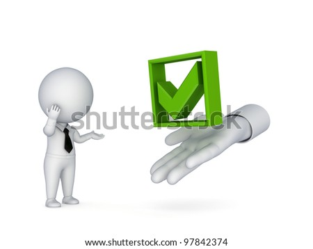 3d small person looking for a tick mark.Isolated on white background.3d rendered. - stock photo