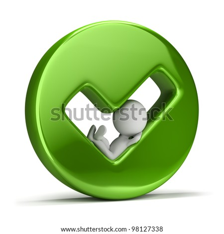 3d small person lying in a hole in the form of ticks. 3d image. Isolated white background. - stock photo