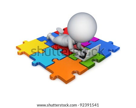 3d small person lying on a puzzles with a modern notebook.Isolated on white background.