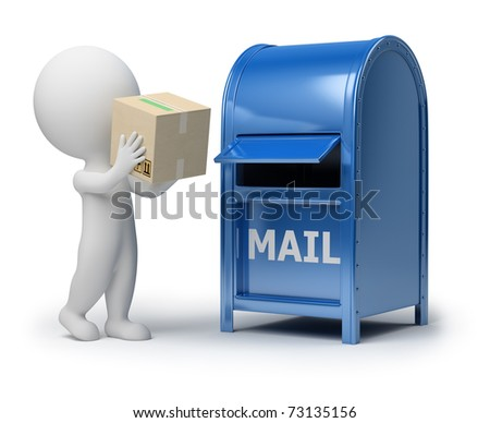 3d small person mailing a package. 3d image. Isolated white background. - stock photo