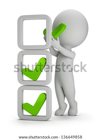 3d small person makes a tick in cell. 3d image. White background. - stock photo