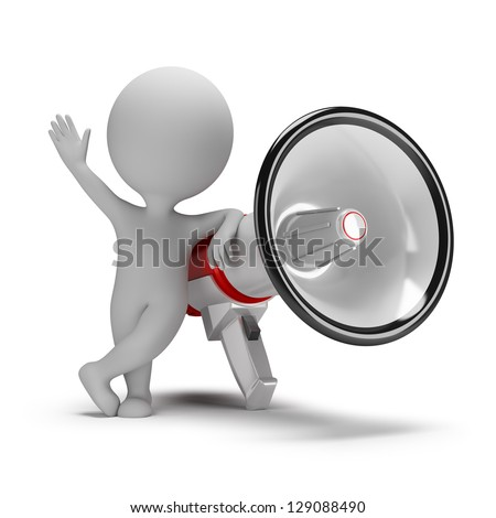 3d small person next to a large megaphone. 3d image. White background. - stock photo