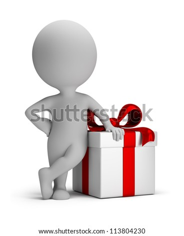 3d small person next to gift. 3d image. Isolated white background. - stock photo