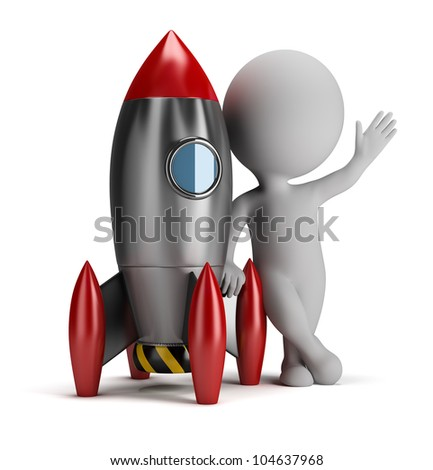 3d small person next to rocket. 3d image. Isolated white background. - stock photo